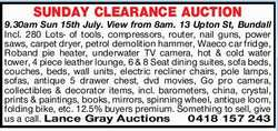 SUNDAY CLEARANCE AUCTION   9.30am Sun 15th July. View from 8am.   13 Upton St, Bundall ...