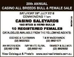SATURDAY 28th JULY 2018 COMMENCING 11am CASINO SALEYARDS 193 STUD & HERD BULLS 6840541ab 20th AN...