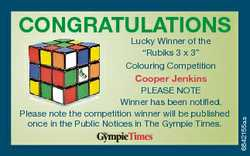 "CONGRATULATIONS Lucky Winner of the ""Rubiks 3 x 3"" Colouring Competition PLEASE NOTE Winne..."