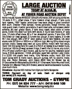 TODAY AT 8:30A.M. AT FISHER ROAD AUCTION DEPOT 6843282ac LARGE AUCTION Items include: Kubota M4950DT...