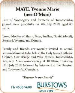 MAYE, Yvonne Marie (nee O'Mara) Late of Worongary and formerly of Toowoomba, passed away peacefu...