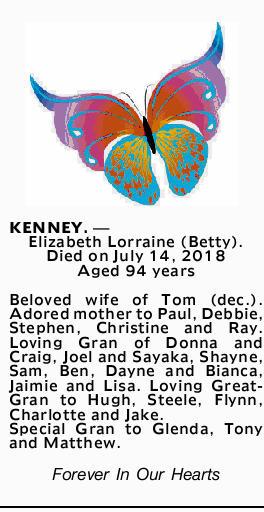 KENNEY. _ Elizabeth Lorraine (Betty).   Died on July 14, 2018   Aged 94 years   Belov...