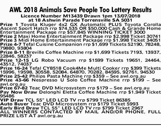AWL 2018 Animals Save People Too Lottery Results   Licence Number M13439 Drawn 1pm 13/07/2018...