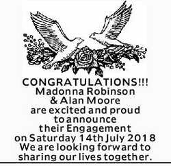 CONGRATULATIONS!!!   Madonna Robinson & Alan Moore are excited and proud to announce thei...