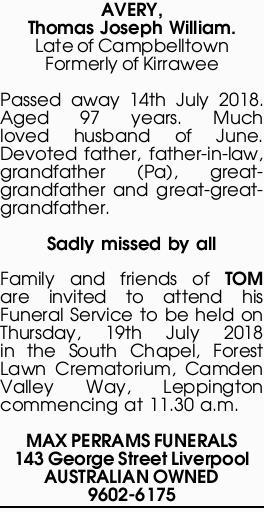 AVERY, Thomas Joseph William   Funeral Notices   Sydney