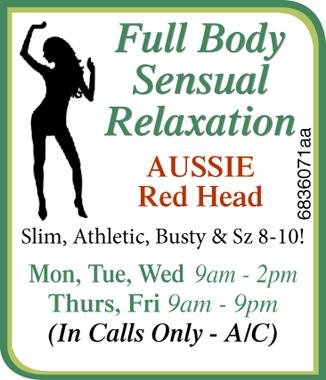 AUSSIE Red Head  Slim,  Athletic,  Busty & Sz 8-10!  Mon, Tues, Wed&n...