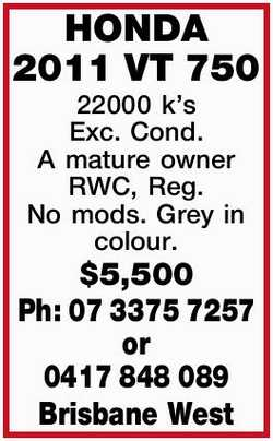 22000 k's Exc. Cond. A mature owner RWC, Reg. No mods. Grey in colour. $5,500  Brisbane...