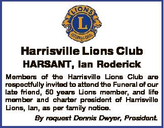 Harrisville Lions Club   HARSANT, Ian Roderick   Members of the Harrisville Lions Club ar...