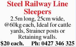 Steel Railway Line Sleepers   2.5m long, 25cm wide, @60kg each, Ideal for cattle yards, Strai...