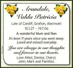 Arandale, Valda Patricia V a 6845279aa Late of Cardiff, Grafton, Abermain 15.1.27  19.7.06 A wonderf...