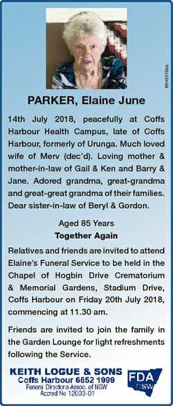 6845319aa PARKER, Elaine June 14th July 2018, peacefully at Coffs Harbour Health Campus, late of Cof...