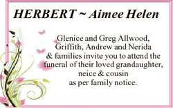 HERBERT  Aimee Helen Glenice and Greg Allwood, Griffith, Andrew and Nerida & families invite you...