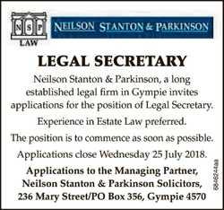 LEGAL SECRETARY   Neilson Stanton & Parkinson, a long   established legal firm in Gym...