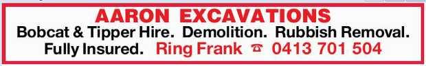 Bobcat & Tipper Hire.    Demolition.    Rubbish Removal.    Fully Insured.    ...