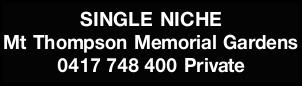 SINGLE NICHE 