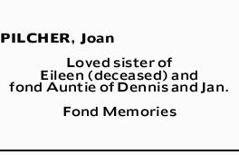 PILCHER, Joan