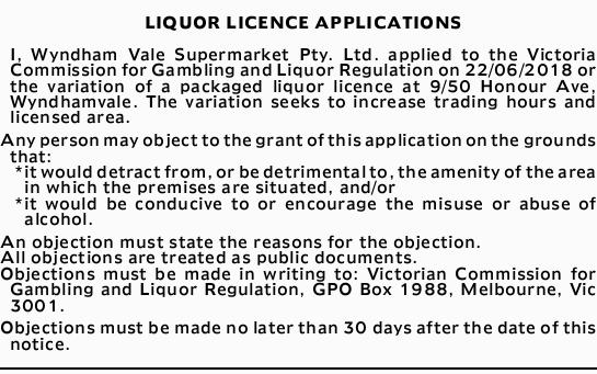 LIQUOR LICENCE APPLICATIONS
