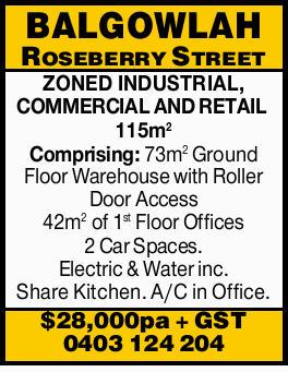 115m2   Comprising:   73m2 Ground Floor Warehouse with Roller Door Access   42m2 of 1...