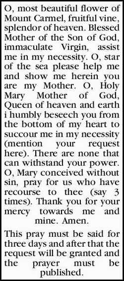 O, most beautiful flower of Mount Carmel, fruitful vine, splendor of heaven. Blessed Mother of th...