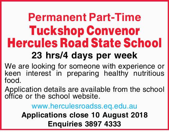 Permanent Part-Time Tuckshop Convenor Hercules Road State School 23 hrs/4 days per week We are lo...
