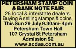28 local & interstate dealers. Buying & selling stamps & coins.