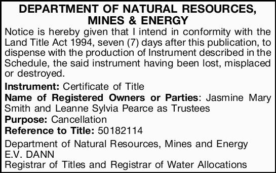 DEPARTMENT OF NATURAL RESOURCES, MINES & ENERGY