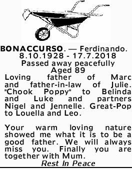 <p> BONACCURSO, Ferdinando </p> <p> 8.10.1928 - 17.7.2018 </p> <p> Passed away...</p>