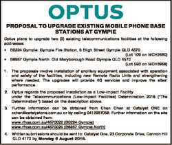 PROPOSAL TO UPGRADE EXISTING MOBILE PHONE BASE STATIONS AT GYMPIE Optus plans to upgrade two (2) exi...