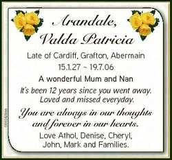 Arandale, Valda Patricia V a 6846428aa Late of Cardiff, Grafton, Abermain 15.1.27  19.7.06 A wonderf...