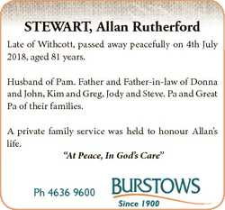STEWART, Allan Rutherford Late of Withcott, passed away peacefully on 4th July 2018, aged 81 years....