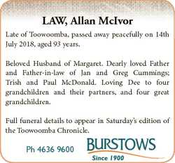 LAW, Allan McIvor Late of Toowoomba, passed away peacefully on 14th July 2018, aged 93 years. Belove...