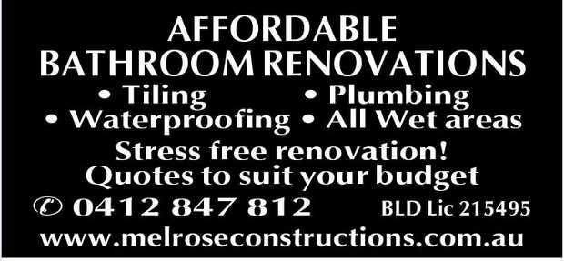 Tiling    Plumbing    Waterproofing    All Wet areas    Stress free renovation! ...