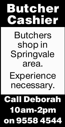 Butcher Cashier