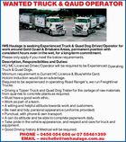 Experienced Truck & Quad Dog Driver/Operator