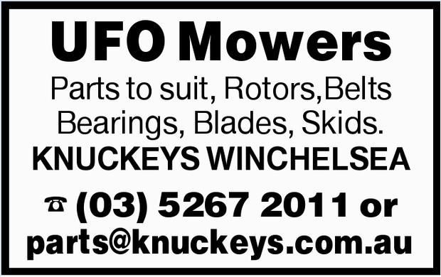 UFO Mowers Parts to suit, Rotors,Belts Bearings, Blades, Skids. KNUCKEYS WINCHELSEA parts@knuckey...