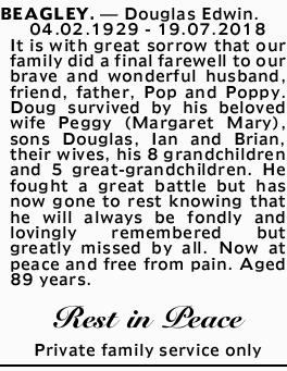 BEAGLEY. - Douglas Edwin.