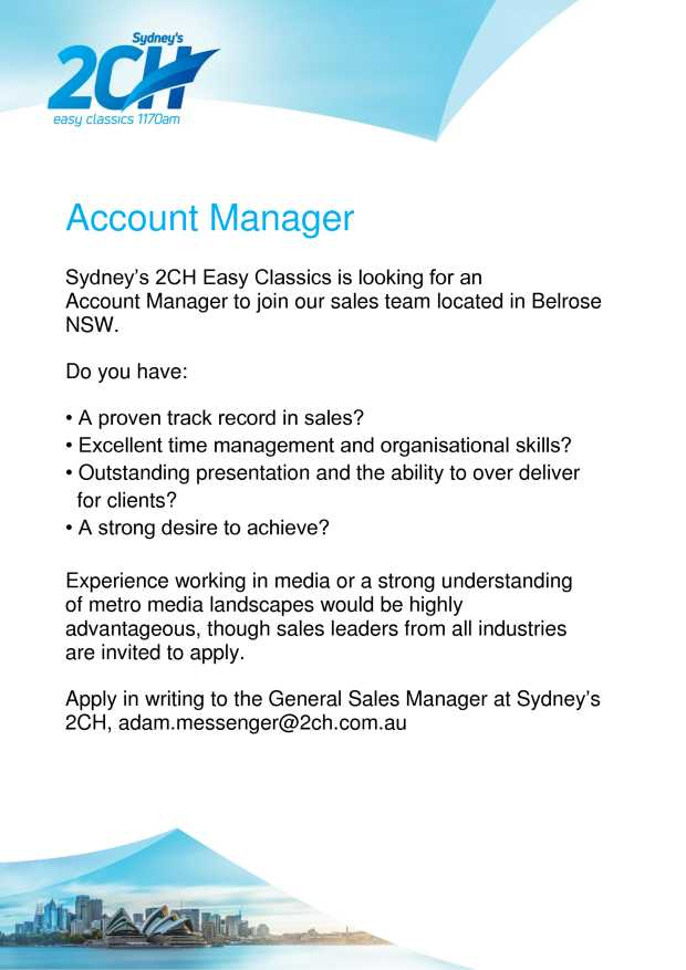 Sydney's 2CH Easy Classics is looking for an Account Manager to join our sales team locat...