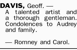 DAVIS, Geoff. _    A talented artist and a thorough gentleman.   Condolences to Audrey an...