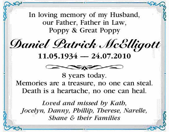 Daniel Patrick Mcelligott Condolences Notices Cairns Post
