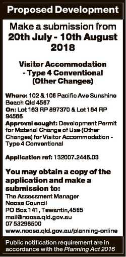 Proposed Development Make a submission from 20th July - 10th August 2018 Visitor Accommodation - Typ...