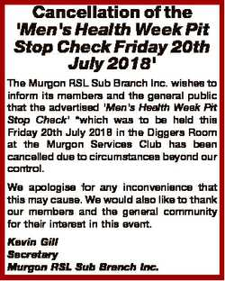 Cancellation of the 'Men's Health Week Pit Stop Check Friday 20th July 2018' The Murgon...