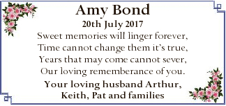 Amy Bond 20th July 2017 Sweet memories will linger forever, Time cannot change them it's true...