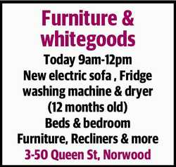 Today 9am-12pm New electric sofa , Fridge washing machine & dryer (12 months old) Beds...