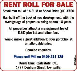 RENT ROLL FOR SALE Small rent roll of 14 PUM at Shoal Point QLD 4750 Has built off the back of new d...