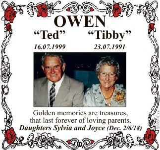 """OWEN 16.07.1999 """"Tibby"""" 23.07.1991 Golden memories are treasures, that last forever of loving..."""