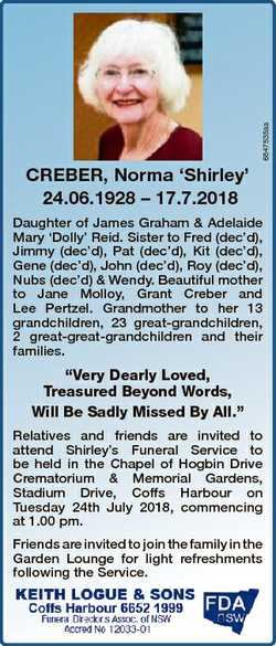 6847535aa CREBER, Norma `Shirley' 24.06.1928 - 17.7.2018 Daughter of James Graham & Adelaide...