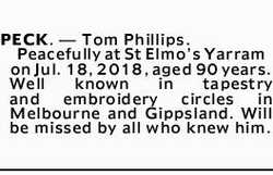 PECK. _ Tom Phillips.    Peacefully at St Elmo's Yarram on Jul. 18, 2018, aged 90 years....