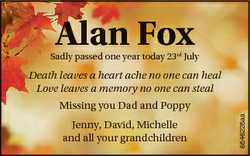 Alan Fox Sadly passed one year today 23rd July Death leaves a heart ache no one can heal Love leaves...