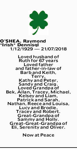 Oshea Raymond Irish Dennis Death Notices Notices The