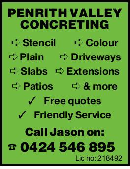 PENRITH VALLEY CONCRETING Stencil Colour Plain Driveways Slabs Extensions Patios & more Free...